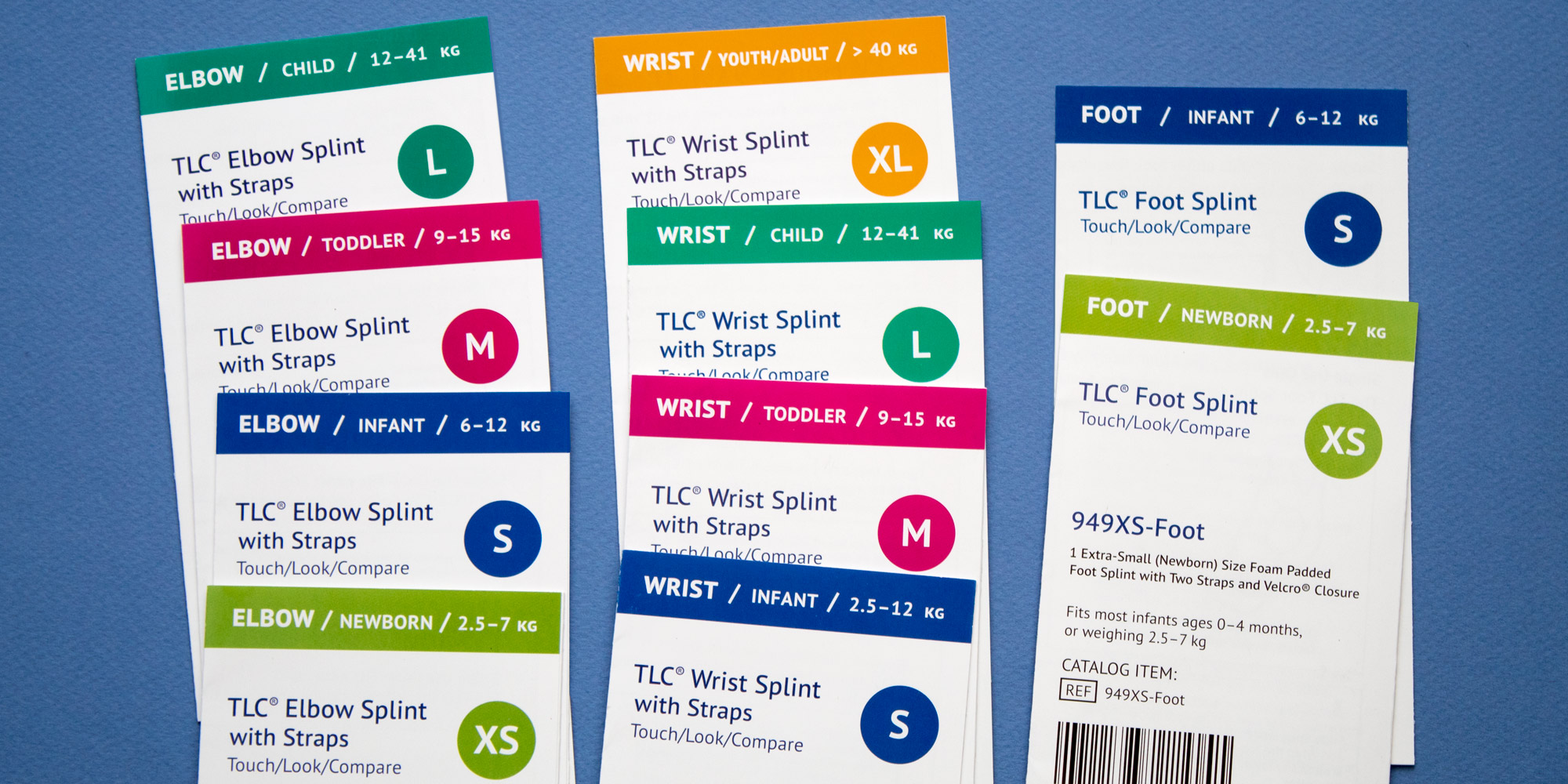 The full range of TLC UltraSplint packaging inserts