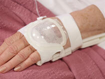 UltraDressing 730L Hand and 939XL-Ultra wrist splint on older adult patient