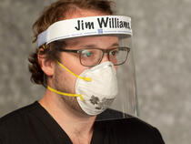 I.V. House FaceShield with ID Band can be worn with medical grade PPE.