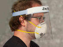 I.V. House FaceShield with ID Band foam cushion conforms to wearer's forehead.
